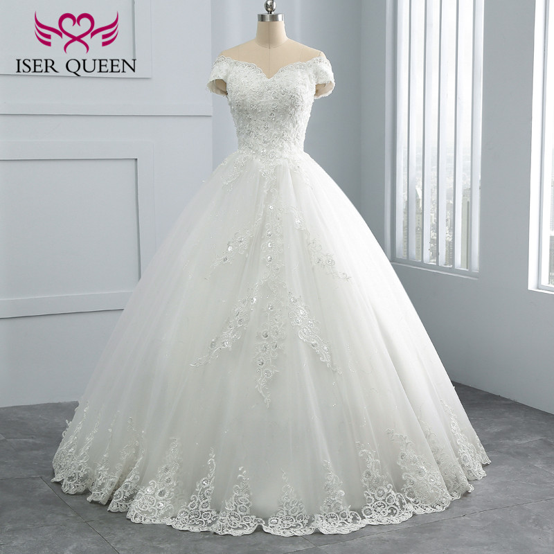 Sequin Lace Embroidery Beading Pretty Princess Wedding Dress 2019 Ball Gown Vestido De Noiva Vintage Wedding Dresses WX0108