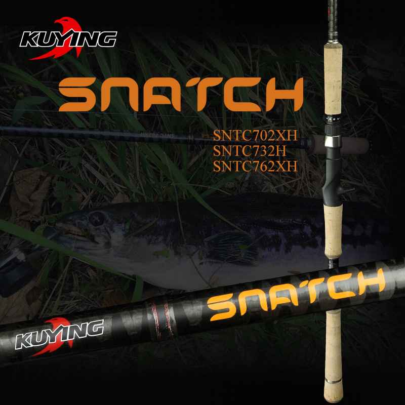 "KUYING SNATCH 2.1m 7'0 ""2.19m 7'3"" 2.28m 7'6 ""Super Hard XH H Carbon Casting Lure Fiske Rod Pole Cane Stick Snabb Åtgärd"
