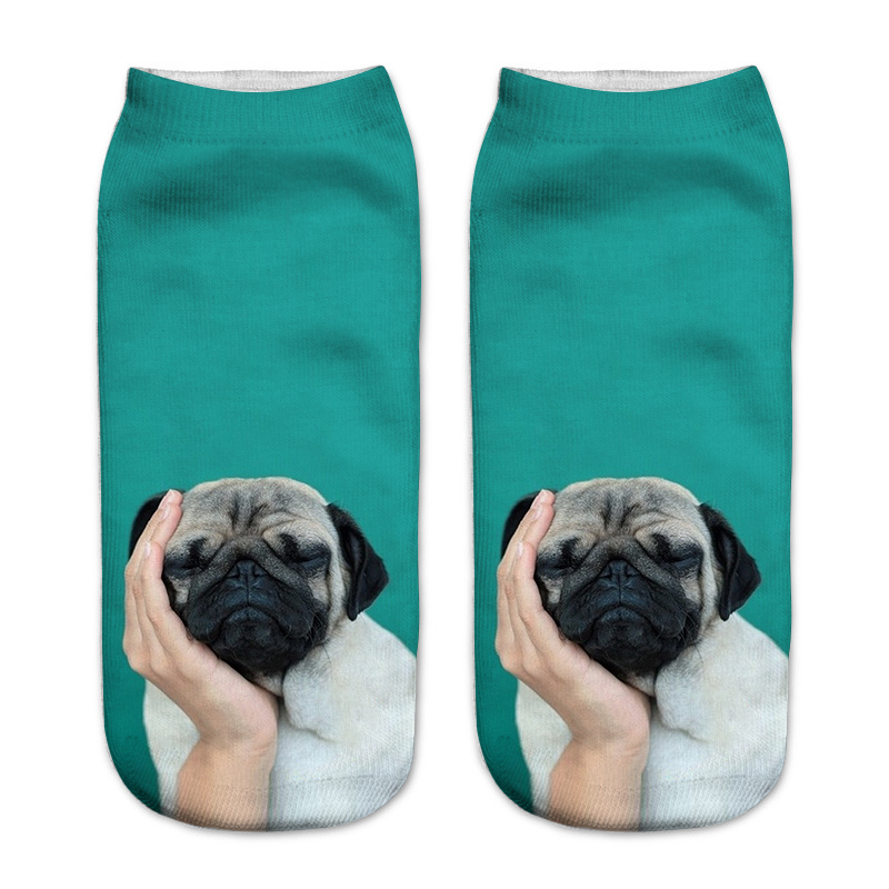 New Arrival 3D Pug Dog Print Socks Casual Harajuku Art Socks Low Cut Animal Sock Ankle Women's Sock Short Meias Feminina