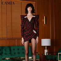 CAMIA Plaid summer Dress Overalls for women Slim V neck Asymmetric dress Rhinestone Decorative Short Dress