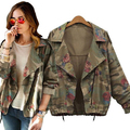 2016 New women's army green camouflage jackets coat zipper cardigans denim jackets women coats winter clothings Free Shipping