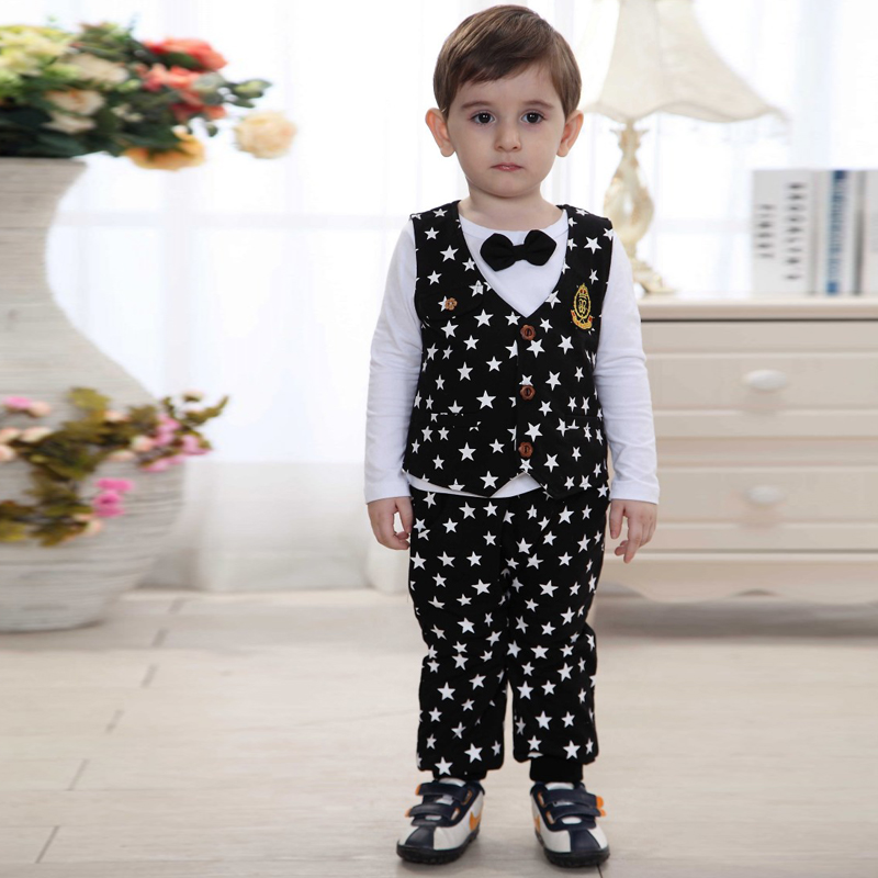 Cheap Baby Boy Clothes Boys Suits Sets Formal Gentleman 2015 Autumn Wedding Full Print