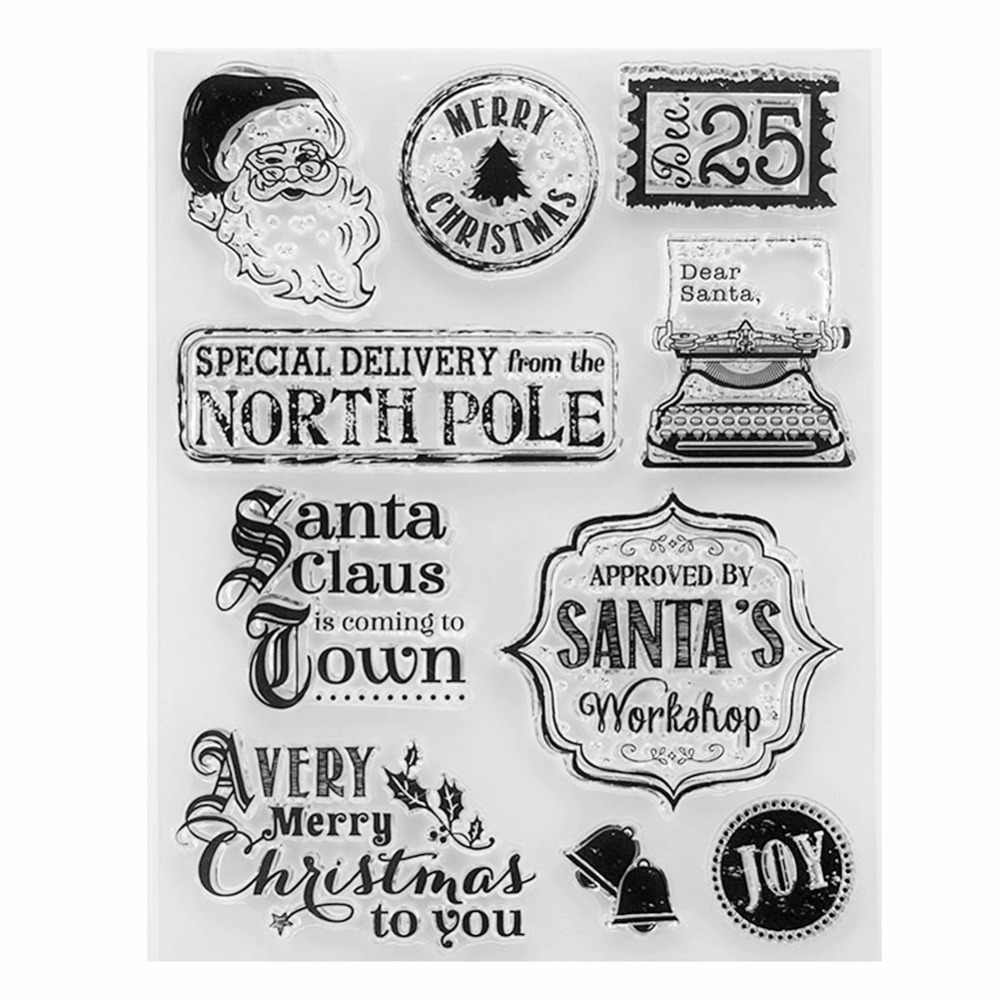 Christmas Santa Claus Transparent Clear Silicone Stamp/Seal for DIY Scrapbooking/Photo Album Decorative Card Making Clear Stamp