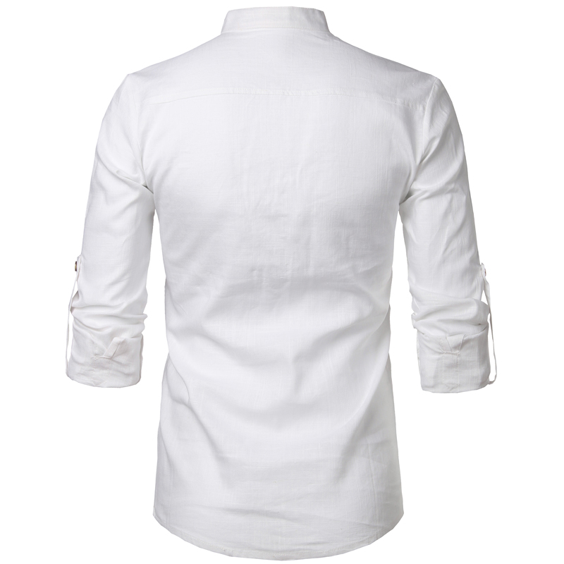 Tunique col Mao blanc, manches longues, avec poche, de dos