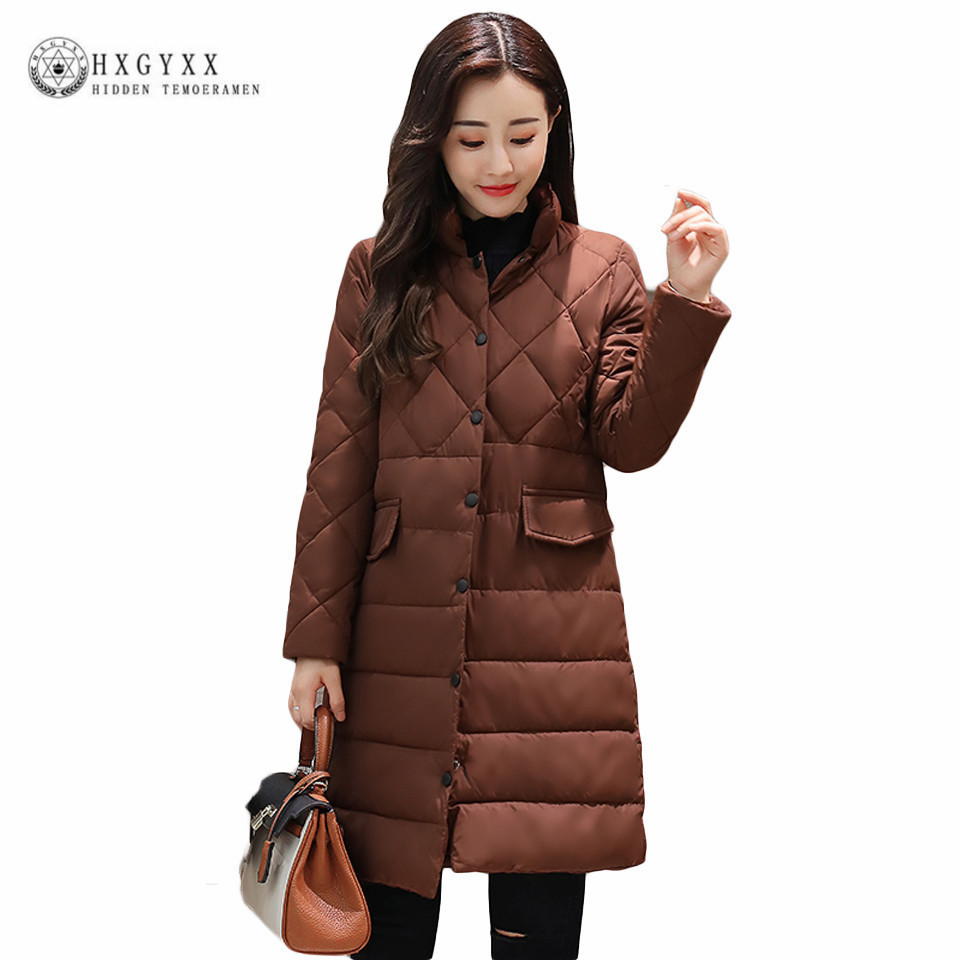 Solid Color Single Breasted Quilted Coat Winter Puffer Jacket Women Clothing 2017 Warm Slim Long Origin Parka Snow Wear OKA542