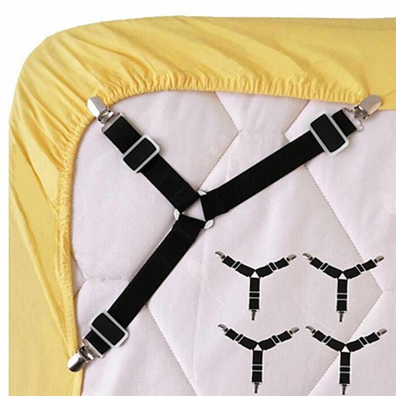 2/4 Pcs สีขาว/สีดำผ้าปูเตียงที่นอนผ้าห่ม Grippers ยึดคลิปยึดชุดยางยืด