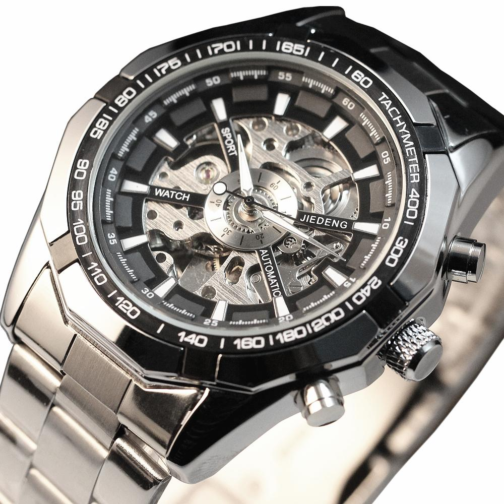 Luxury Silver Wristwatch Men Casual Male Automatic Mechanical Watches Business Sports Military Skeleton Stainless Steel Watch men gold watches automatic mechanical watch male luminous wristwatch stainless steel band luxury brand sports design watches