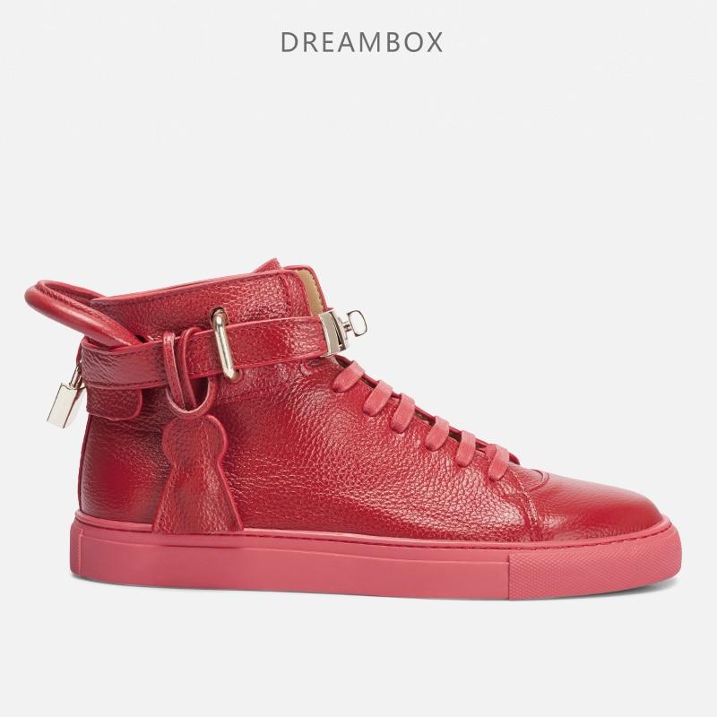 De brittiska männen ungdomsrörelse fritid läder skor mode skor hög metall lås zapatos de hombre