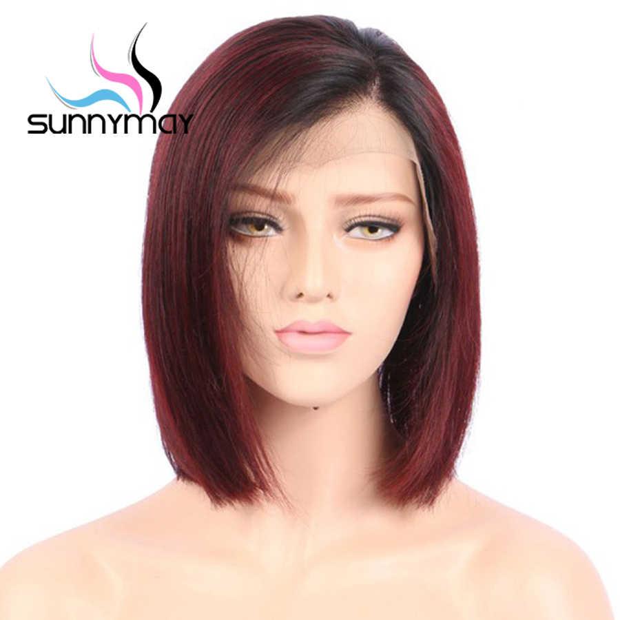 Sunnyмая 150% бордовый Омбре человеческих волос парики предварительно сорвал боковая часть короткие боб парики бразильские волосы Remy парики с волосами младенца