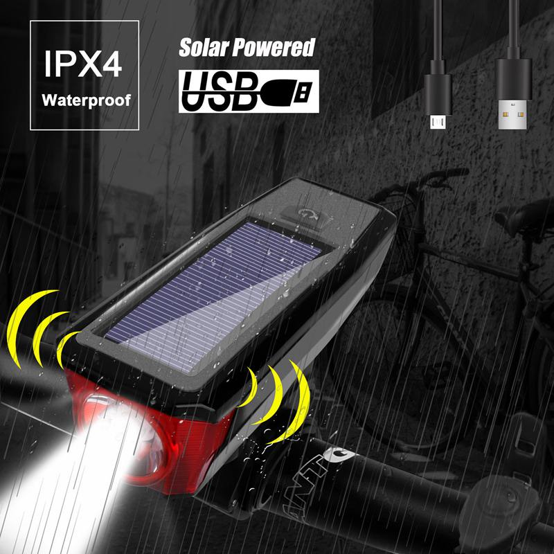 USB Charging Solar Bicycle Light Light Sensing Mountain Bike Headlights With Horn Riding Equipment Accessories