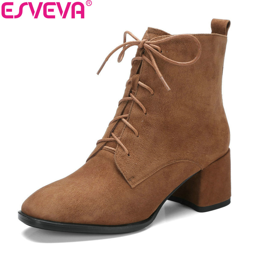 ESVEVA 2018 High Heels Women Boots Vintage Style Ankle Boots Square Heel Sound Toe High Heels Ladies Elegant Boots Size 34-42 esveva 2018 women boots zippers black short plush pu lining pointed toe square high heels ankle boots ladies shoes size 34 39