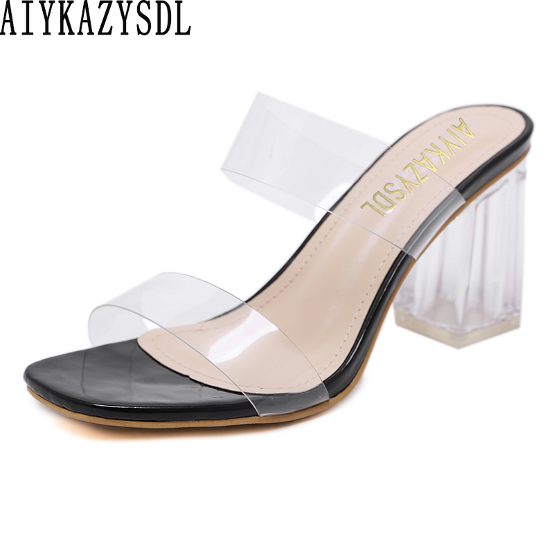 AIYKAZYSDL Women Square Toe PVC Clear Transparent Sandals Cut Out Slippers Slides Mules Chunky Block High Heels Summer ShoesAIYKAZYSDL Women Square Toe PVC Clear Transparent Sandals Cut Out Slippers Slides Mules Chunky Block High Heels Summer Shoes