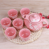 Japanese Cherry Blossom Teapots Set 1 Pot 6 Cups Ceramic Drinkware Tea Pot Home Office Tea Set Kettle Drop Shipping