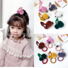 Korea Cotton Cartoon  Rabbit Sweet Heart Hair Accessories For Girls Clips Elastic Band Hairpins Tie Princess Set