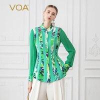 VOA шелковая блузка Для женщин зеленый печатных топы Осень с длинным рукавом офисные, Blusas Бохо одежда тонкий роковой b766