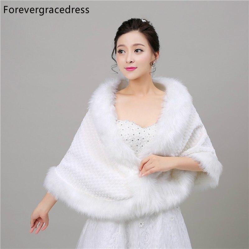 Forevergracedress Free Shipping 2018 Luxury Faux Fur Stoles Wedding Wrap Winter Bolero Jacket Bridal Accessories Cape In Stock