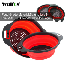 WALFOS 2 pieces food grade Silicone Kitchen accessories tools Collapsible Colander Fruit Vegetable Strainer Silicone Drainer