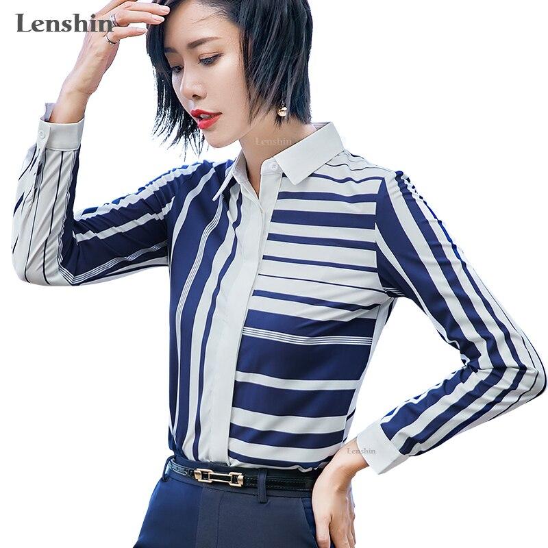 Lenshin Asymmetrical Striped   Blouse     Shirt   for Women Female Work Wear Office Lady Style Geometric Pattern Tops