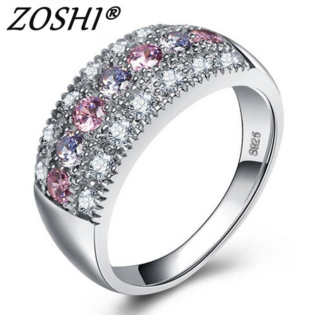 Luxury Female 925 Silver Ring Set Bridal High Quality Silver Filled Jewelry Vint