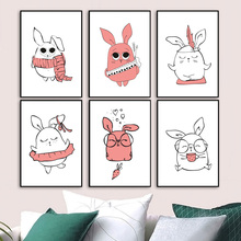 Rabbit Nordic Posters And Prints Bunny Wall Art Canvas Painting Pictures For Kids Bedroom Baby Boy Girl Room Nursery Decor