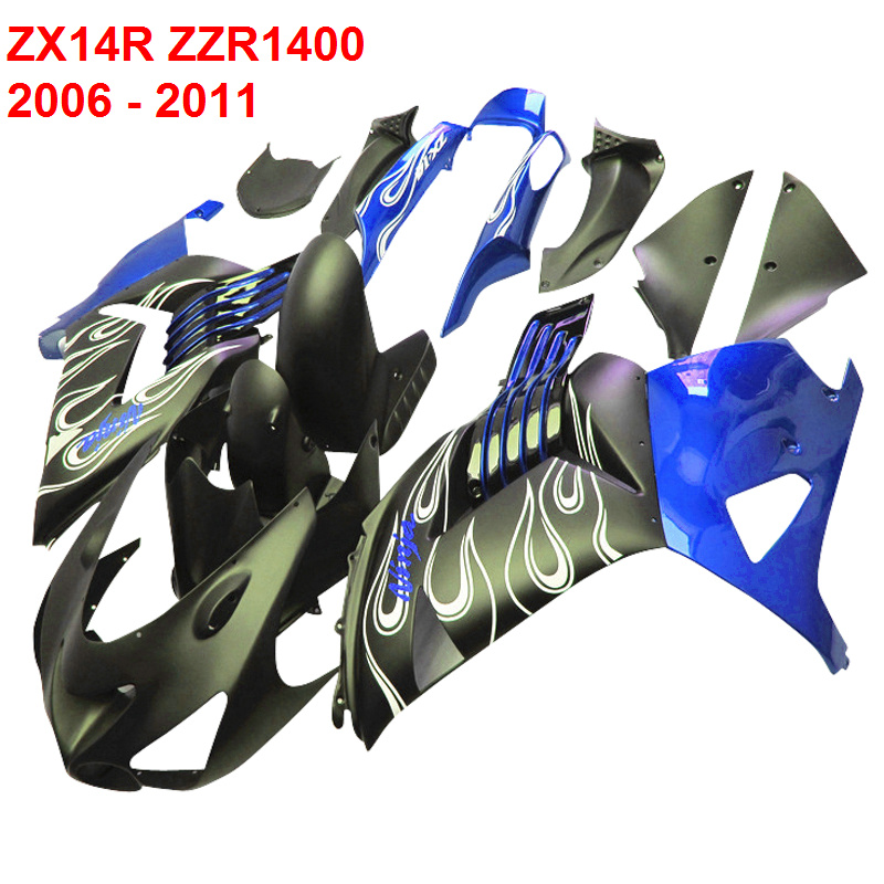 Fairing Body kits For Kawasaki ZX14R Ninja 06 - 11 2006 - 2011 Injection molded Blue Fairings ( ZZR1400 )  xl47