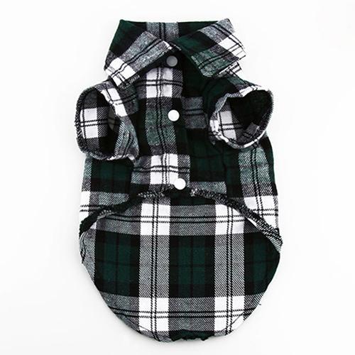 Small Pet Dog Plaid Shirt Lapel Coat Cat Jacket Clothes Costume Top Apparel