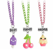 Best Firends Forever BFF Necklaces Pendant Cherry Ice Cream Cake Necklace Friendship Necklace For Children Bestfriends 3pcs/set