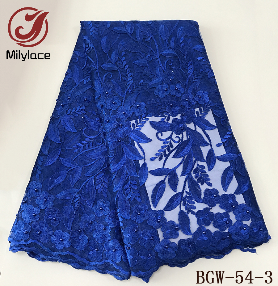 Good quality wholesale price skyblue lace fabric african tulle lace floral french lace fabric 5yards embroidery