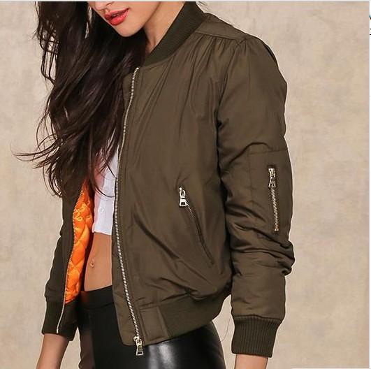 Womens basic bomber jacket Army Green down jacket coat Padded zipper jacket