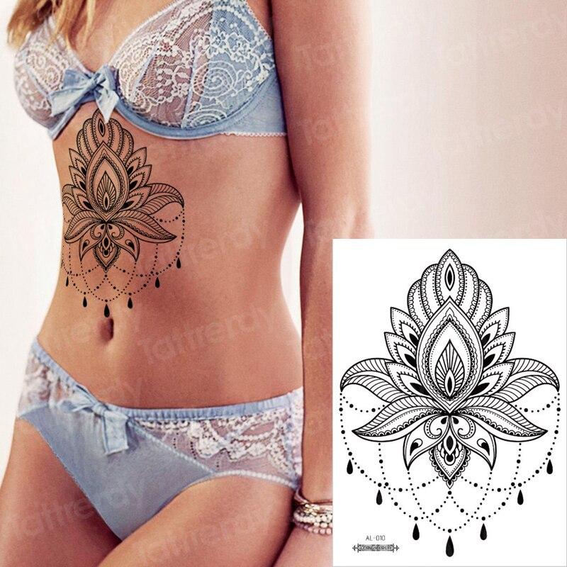 Waterproof Temporary Tattoos For Women Under Breast Tattoo Mandala Lotus Sketch Flower Mehndi Henna Stickers Bikini Sexy Tatoo