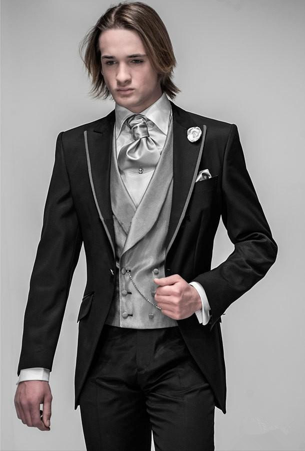 Black Costume One Button Latest Design Formal Wearing Customized Groom Wedding Tuxedos 3 Pieces Jacket Pants