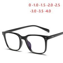 1,56, асферические линзы, очки по рецепту, для женщин и мужчин, Ретро стиль, Rice Nail TR90, квадратные очки для близорукости, черная оправа, 0~-4,0