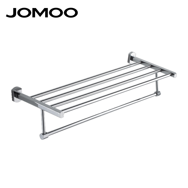 JOMOO High Quality Brass Alloy Towel Bar Set Rack Tower Holder Hanger Bathroom Wall Mounted  Hotel Shelf Chrome Finish 933612 tower bath towel dual bar aluminum alloy hanger rack silver