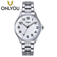 ONLYOU Lovers Watch Business Wristwatches Brand Famous Quartz Clock Stainless Steel Watch For Men And Women