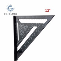 12 Inch Metric System Triangular Ruler Speed Square Protractor Black Aluminum Alloy Angle Ruler For Woodworking Measuring Tools
