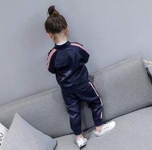 Image 4 - 2 8 lat dziewczynek dresy sportowe 2020 wiosna dzieci z długim rękawem płaszcz z suwakiem + spodnie Casual Girls odzież zestaw dzieci dres