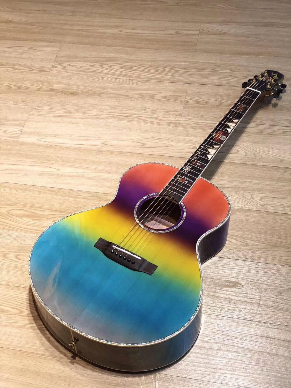2019 nouveau, haute qualité coloré brillant épicéa massif top guitare acoustique, palissandre touche piano code 40 pouces OM baril type,