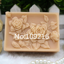 1pcs Lovely Rose with Square (zx269) Food Grade Silicone Handmade Soap Mold Crafts DIY Mould