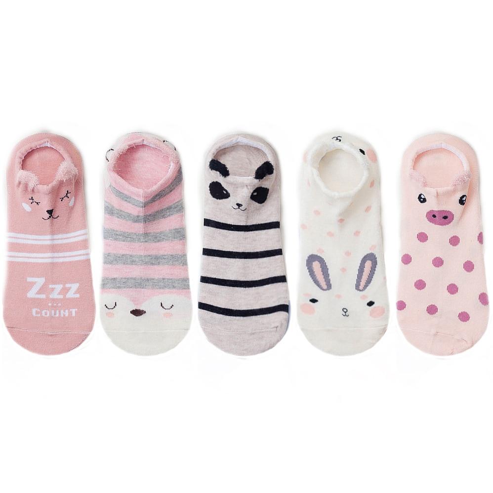 5 Pairs Women Cotton Socks Stereoscopic Cute Animal Female Kawaii Cat With Dog Summer Short Socks Women Casual Soft Funny Socks