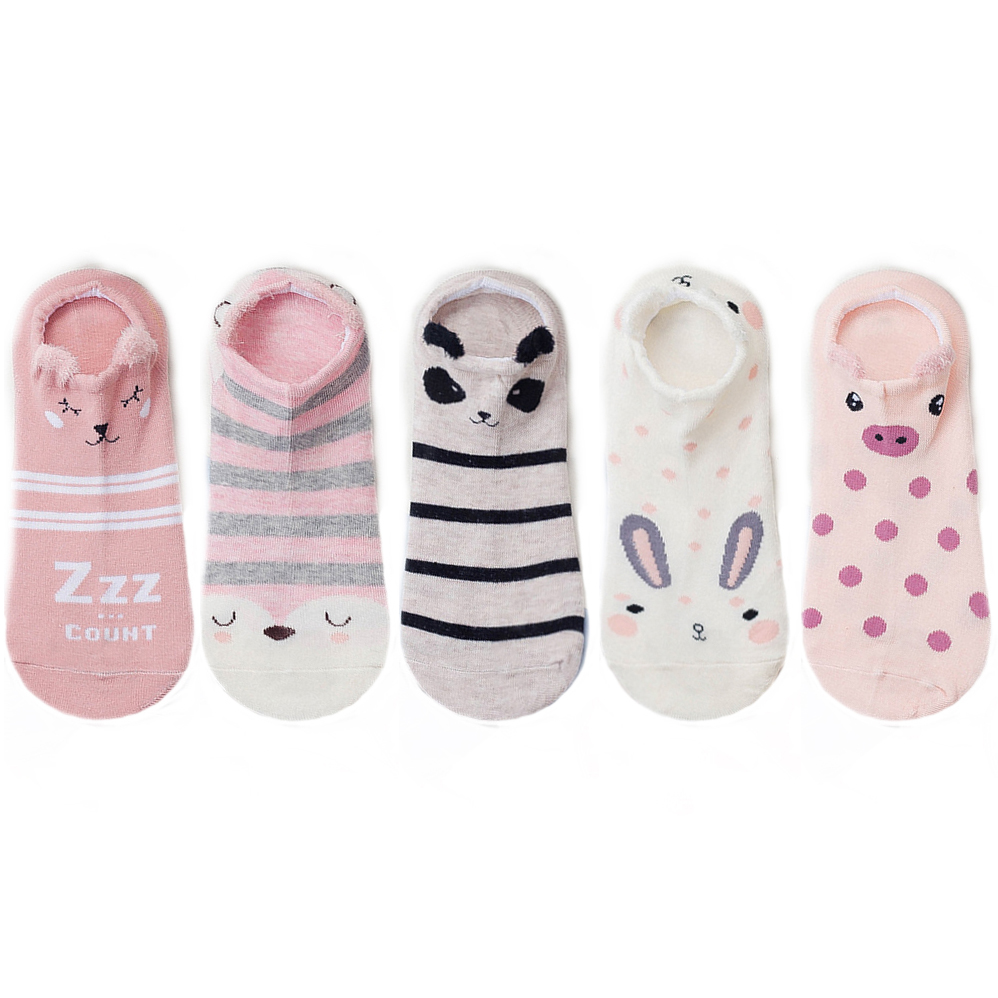 5 pairs women cotton socks stereoscopic Cute Animal Female Kawaii Cat With Dog Summer Short Socks Women Casual Soft Funny Socks