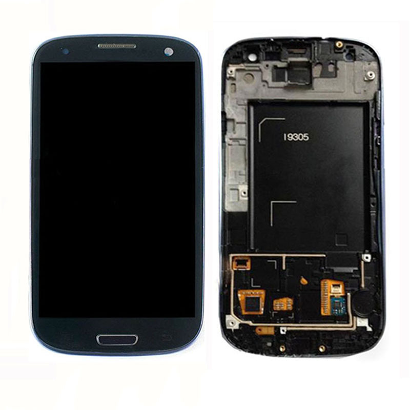 LCD Display Front Touch Screen Digitizer Assembly With Frame Bezel For Samsung Galaxy S III S3 i9305 Black