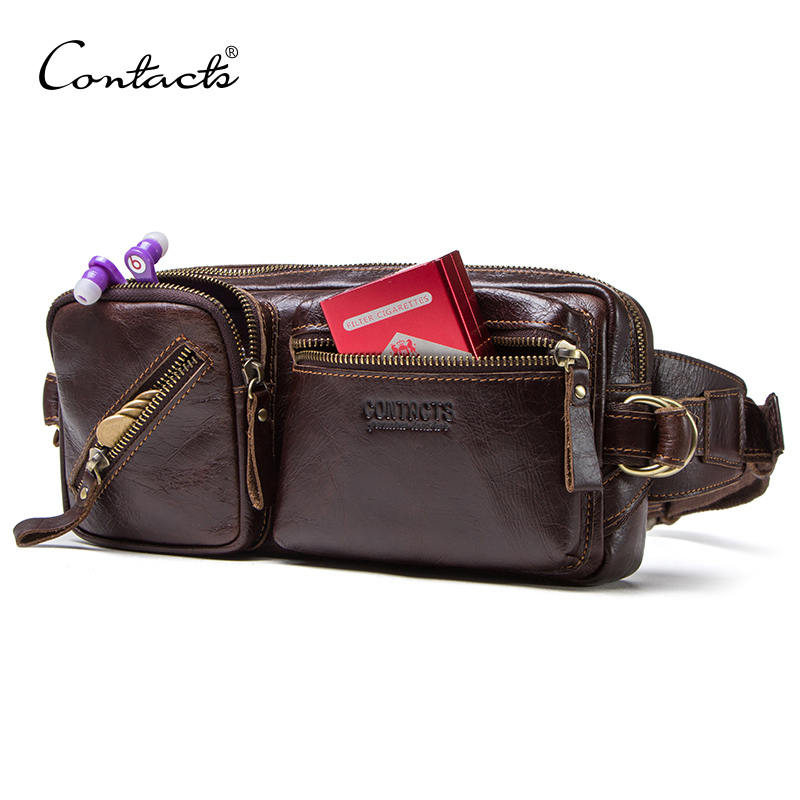 CONTACT'S Genuine Leather Men's Belt Bag New Small Fanny Pack Top Quality Male Waist Bag For Cell Phone Travel Chest Bags Man