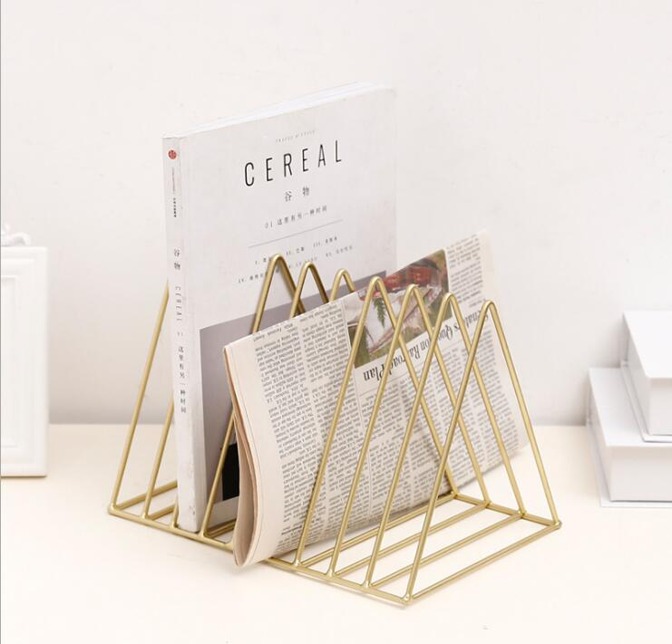 New!Metal Book Stand Classic triangle Shape Newspaper organizer Iron Desk Magazine Holder Office Stationery Collection Case