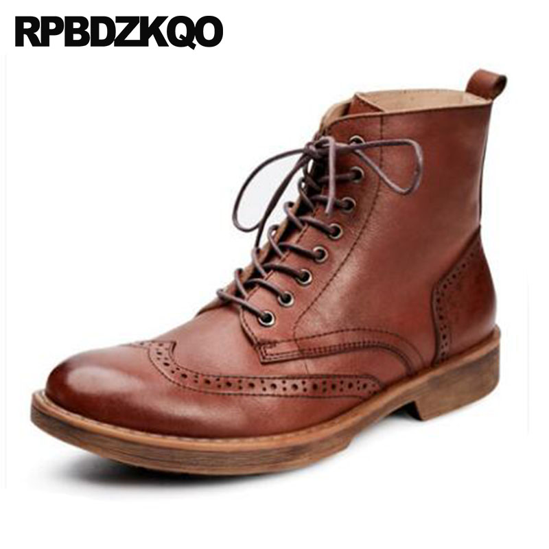Men Wingtip Retro Combat Boots Army Shoes Brogue Designer Ankle Military Chunky Vintage Real Leather Brown Full Grain GenuineMen Wingtip Retro Combat Boots Army Shoes Brogue Designer Ankle Military Chunky Vintage Real Leather Brown Full Grain Genuine