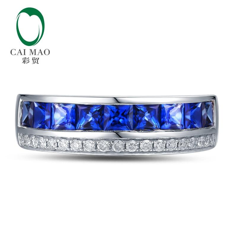 Demi-éternité classique 0.17ct pavé de G-H SI diamant naturel et 1.56ct saphirs de fiançailles bande de mariage Caimao bijoux