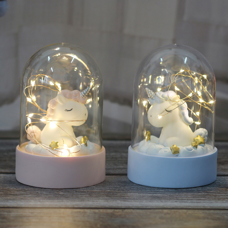 Cartoon LED Night Light Luminaria Garland Fairy String Lights Novelty Unicorn Night Lamp Bedside Lamp For Kids Christmas New Year Gift (7)