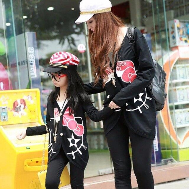 2016 Мать и дочь одежда Семья Clothing набор котенок кошка мода кардиган с длинными рукавами куртки Семьи Соответствующие Наряды