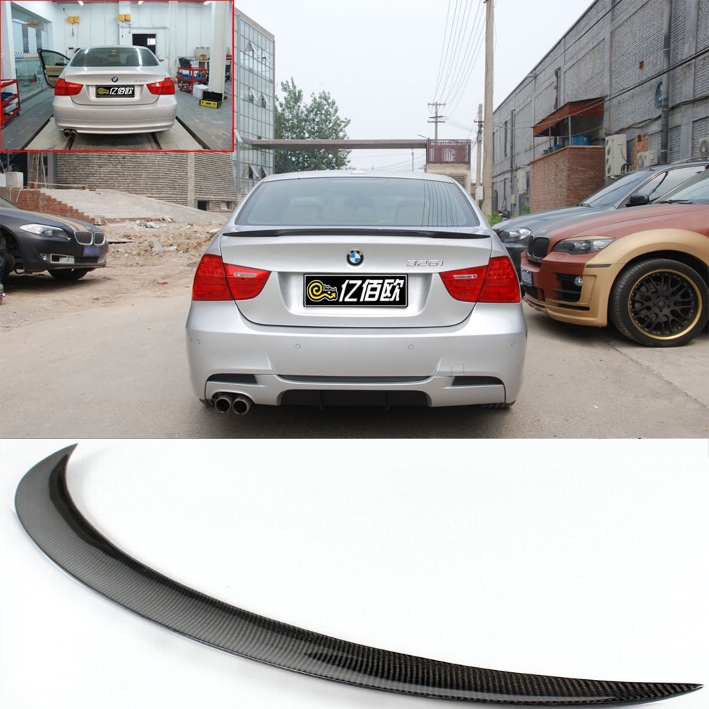E90 350i 325i Carbon Fiber Performance Style Rear Trunk Spoiler Wing Lip For BMW 3-Series Sedan 2005-2012 carbon fiber nism style hood lip bonnet lip attachement valance accessories parts for nissan skyline r32 gtr gts