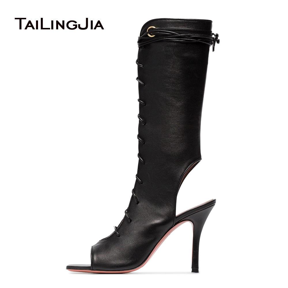 Slingback Heeled Mid Calf Boots