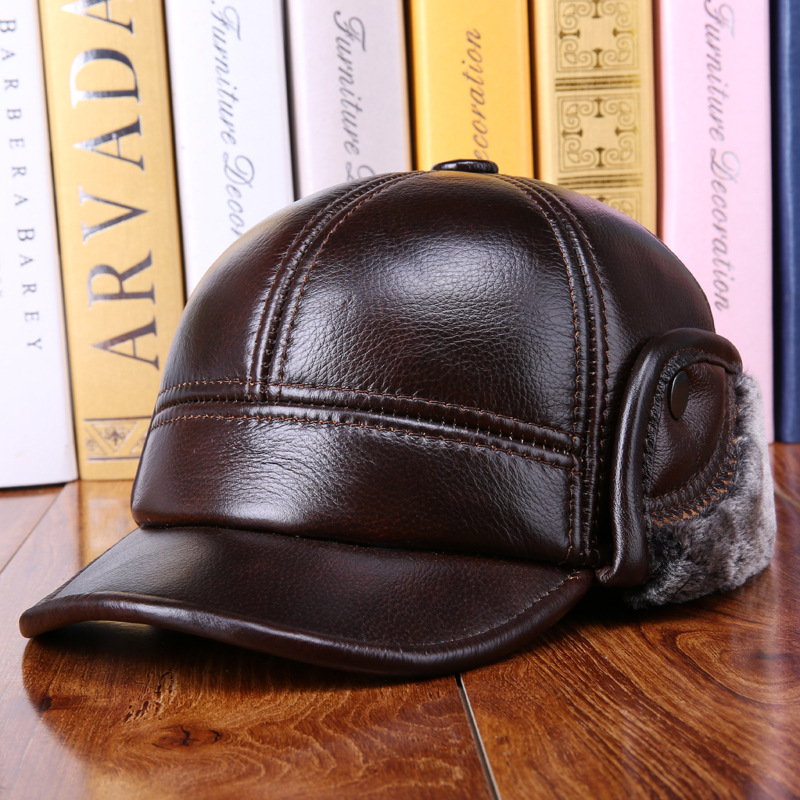 все цены на Middle-aged men's 100% cowhide hat Plus thick velvet baseball cap warm winter cold-proof leather ear protection cap Benn elderly в интернете